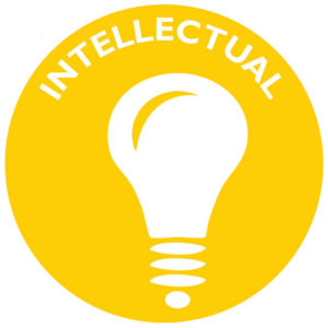The icon for intellectual wellness is a lightbulb.
