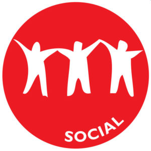 The icon for social wellness is the silhouettes of three people, holding hands.