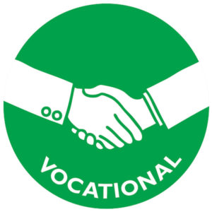The icon for vocational wellness is two hands shaking.
